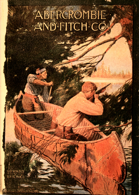 Image of the 1909 Abercrombie & Fitch's catalog interior cover with two men in a canoe on the lake, one shooting and the other paddling