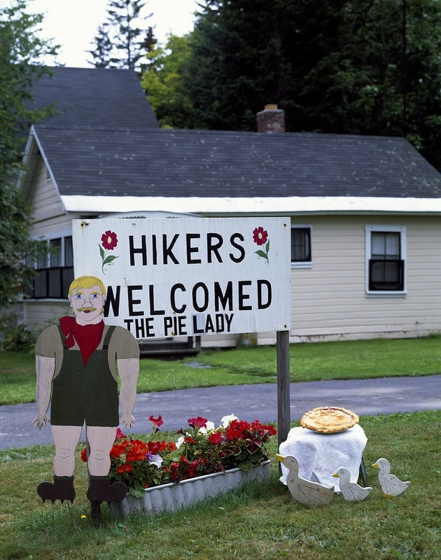 """Pie lady,"" Sydney Pratt, gets a lot of customers from hikers on the Appalachian Trail, Monson, Maine"