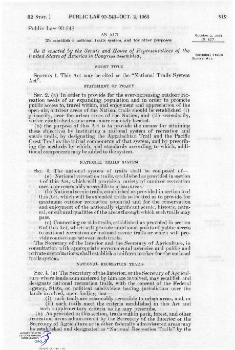 National Trails System Act (1968)