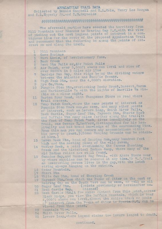 Appalachian Trail Data (1930)