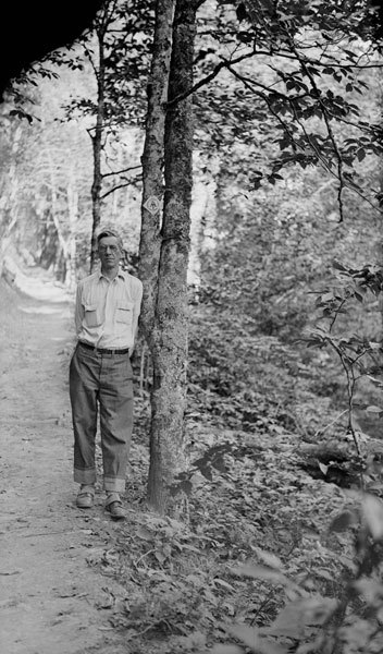 Benton MacKaye on the Appalachian Trail near Newfound Gap