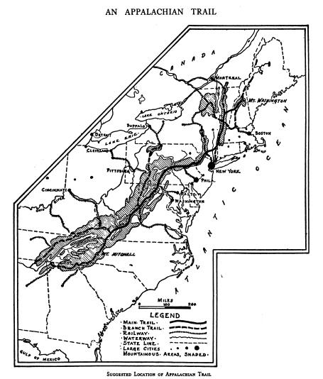 Benton MacKaye's proposed map of an Appalachian Trail