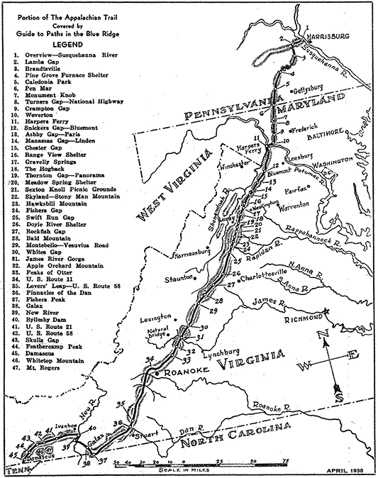 Map of the Appalachian Trail in Virginia, West Virginia, Maryland, and Pennsylvania (1938)