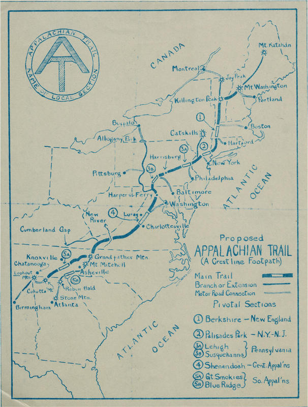 Benton MacKaye's proposed map for the Appalachian Trail (1925)