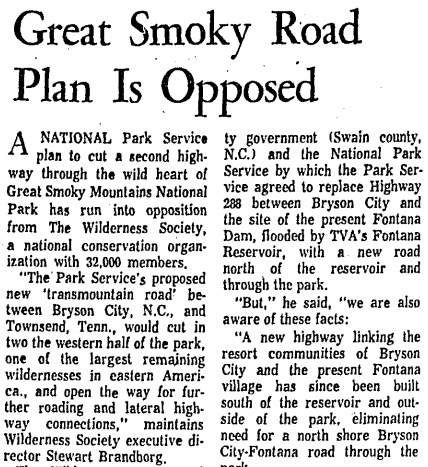 Great Smoky Road Plan is Opposed
