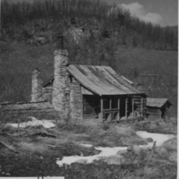Mountaineer's cabin in Free State Hollow in the Blue Ridge Mountains of Virginia.